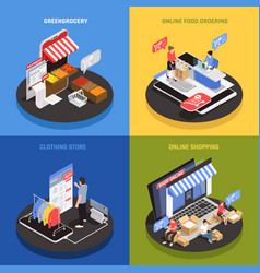 mobile shopping concept icons set vector image