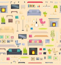 modern and stylish interior design elements set vector image