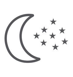 moon and stars line icon night and forecast vector image