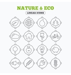 Nature and Eco icons Trees rose flower vector