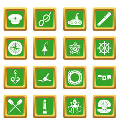 Nautical icons set green vector