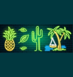 neon signs and icons cactus and pineapple vector image