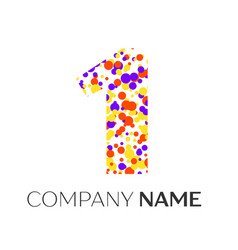 Number one logo with purple yellow red particles vector