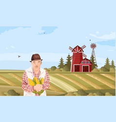 old farmer flat style organic agriculture vector image