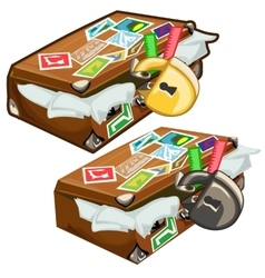 Old filled suitcase with marks closed on padlock vector image