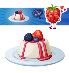 Panna cotta dessert with berries icon and vector