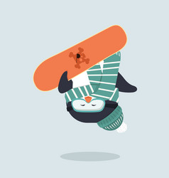 penguin with snowboarder in a jump vector image