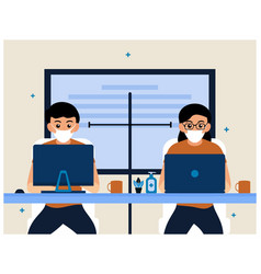 people keep distance in workplace office flat vector image