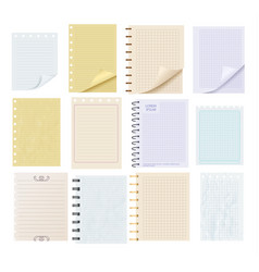 Pieces of colorful blank note paper set vector