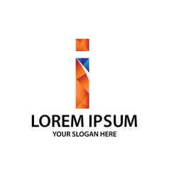 polygonal initial i with logo vector image
