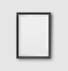 Realistic empty black picture frame mockup vector