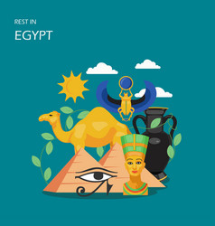 rest in egypt flat style design vector image