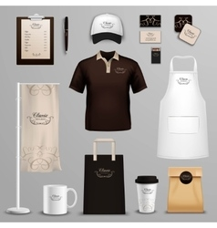 Restaurant cafe corporate identity icons set vector image