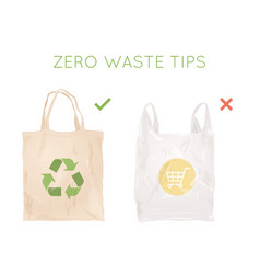 reusable cloth bag instead of plastic bag vector image