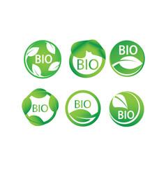round green leaf bio label icon set vector image