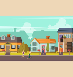 Rural street orthogonal background vector