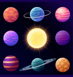set of cartoon glossy planets vector image