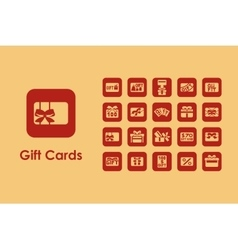 Set of gift cards simple icons vector