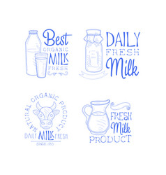 set of monochrome logo templates for milk vector image