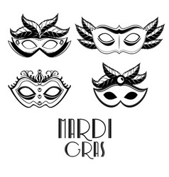 set of purple and yellow carnival mask mardi gras vector image