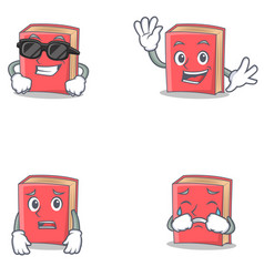 Set of red book character with cool waving afraid vector