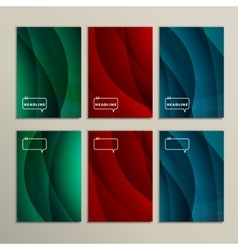 Set of six colored wavy line backgrounds vector image
