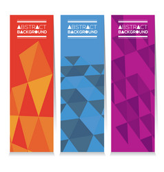 Set of three abstract geometric vertical banners vector