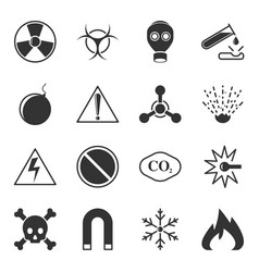 set of warning icons on a white background vector image