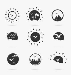 set symbol flight bird vector image