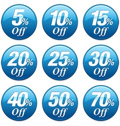 Shopping sale discount badge in blue vector