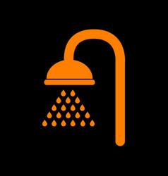 shower sign orange icon on black background old vector image
