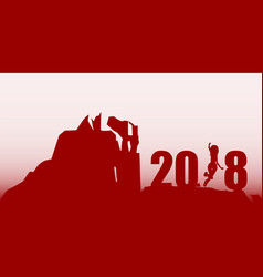 silhouette young woman jumping over 2018 year vector image