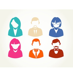Social media flat people user icons set vector