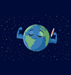 Strong earth getting vaccinated cartoon vector
