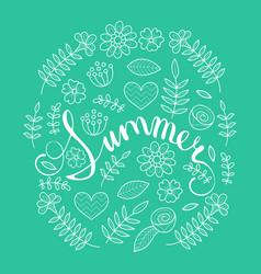 Summer lettering in floral pattern round frame vector