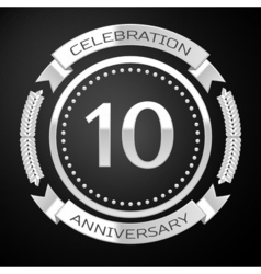 Ten years anniversary celebration with silver ring vector image