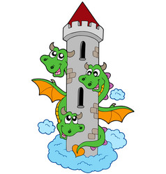 Three headed dragon with tower vector