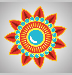 Tradional hindu flower with petals and poinsts vector
