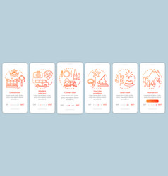 Travel experiences onboarding mobile app page vector