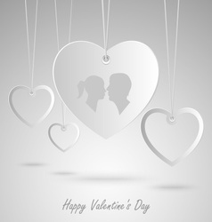 Valentine card with white hearts hanging template vector
