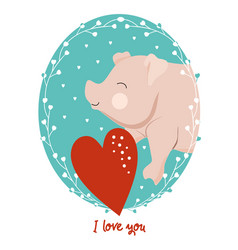 valentines day card with pig vector image