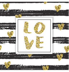 valentines day template with gold glitter worl vector image