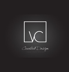 Vc square frame letter logo design with black and vector