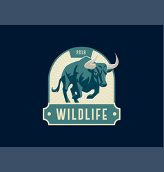 vintage emblem with muscular bull vector image