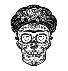 Vintage mexican woman skull isolated on white vector