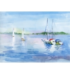 Watercolor Boat on river water vector