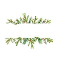 Watercolor christmas banner with green pine vector