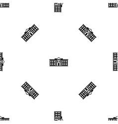 White house usa pattern seamless black vector