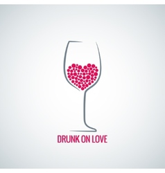 wine glass love heart concept design background vector image