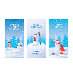winter posters snowman with snowdrifts vector image